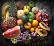 Exotic fruits variety still life Stock Photo