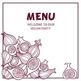 Exotic fruits. Vector illustration with sweet figs. Invitation or menu design. Banner royalty free illustration