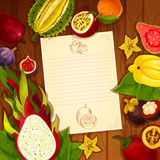 Exotic fruits vector recipe note blank. Recipe blank page of exotic and tropical fruits. Vector note design in carambola or starfruit, guava and dragon fruit Royalty Free Stock Photo