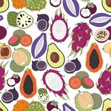 Exotic fruits. Vector seamless pattern. For design and decoration of fabric, home textile, packaging, surfaces, kitchen tools and wallpaper Royalty Free Stock Images