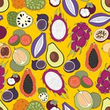 Exotic fruits. Vector seamless pattern for design. And decoration of fabric, home textile, packaging, surfaces, kitchen tools and wallpaper Royalty Free Stock Photos