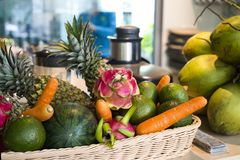 Exotic fruits and vegetables on the table stock photography