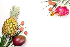 Exotic fruits on a white background, copy space. Pineapple, mango, dragon fruit, lychee. Top view of tropical fruits. Healthy food stock image