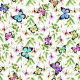 Exotic fuchsia flowers and bright tropical birds. Seamless floral pattern. Royalty Free Stock Photography