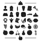 Exotic, funeral, resting and other web icon in black style.apple, fruits, vegetables icons in set collection. Royalty Free Stock Photos
