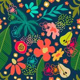 Exotic garden blossom. Seamless botanical pattern with tropical flowers and fruits inspired by 1950s-1960s design. Retro textile collection. On white background royalty free illustration