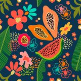 Exotic garden blossom. Seamless botanical pattern with tropical flowers and fruits inspired by 1950s-1960s design. Retro textile collection. On white background vector illustration