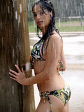 Exotic Girl Bikini. Young tanned woman, cooling off in a cascading summer shower Stock Photos