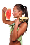 Exotic girl with fruit Royalty Free Stock Photos