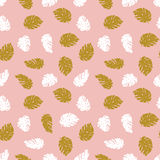 Exotic gold and white leaves on the pink background. Seamless hand drawn tropical pattern. Vector background with monstera Royalty Free Stock Images
