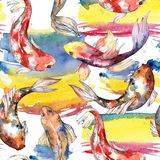 Exotic goldfish wild fish pattern in a watercolor style. Stock Image