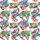 Exotic goldfish wild fish pattern in a watercolor style. Royalty Free Stock Images