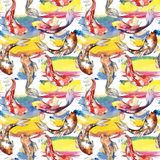Exotic goldfish wild fish pattern in a watercolor style. Stock Images