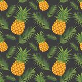 Exotic graphic illustration seamless pattern with yellow pineapple fruits and green leaves on dark black background royalty free illustration
