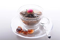 Exotic green tea with flowers in glass teapot isolated on white Stock Photo