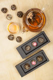Exotic green tea glass teapot Stock Images