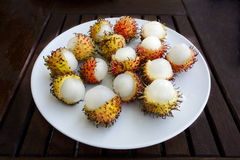 Exotic Hairy Asian Rambutan Fruit. Exotic Hairy Asian delicious Rambutan Fruit royalty free stock photography