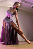 Exotic Harem Girl. Attractive African American Girl Belly Dances Stock Photo