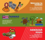 Exotic Hawaii travel destination promotional horizontal posters set. Symbolic attributes, tropical climate nature and delicious food with drinks vector Stock Photos
