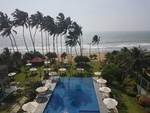 Exotic hotel with swimming pool and palms on the beach of ocean, Sri Lanka, beach royalty free stock images