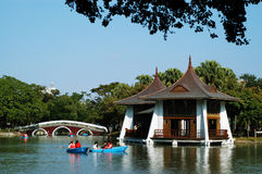 The exotic Hu Xin Pavilion. Is the most significant landmark inside Taichung Park Stock Photos