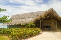 Exotic hut over the sea stock photo