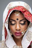 Exotic Indian bride dressed up for wedding Royalty Free Stock Photos