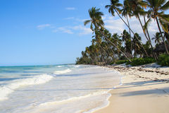 Exotic island beach - hi tide Stock Photography