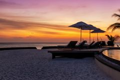 Exotic island sunset in the Maldives royalty free stock photos