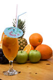 Exotic juice and fresh fruits royalty free stock photos