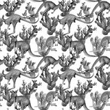 Exotic kangaroo wild animal pattern in a watercolor style. Stock Images