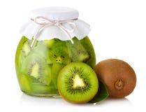 Exotic kiwi jam with ripe fruits and  on white Stock Photos