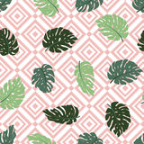 Exotic leaves and geometrical ornament. Seamless hand drawn tropical pattern. Vector background with monstera and rhombus. royalty free illustration