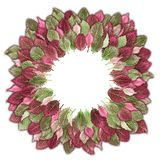 Exotic leaves in green and pink decorated in a circle. Can be used as background Stock Photo