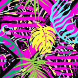 Exotic leaves summer funky seamless pattern. 80s 90s pop art memphis style.Hand drawn ink artistic trendy sport fashion background. Expressive ornament for Royalty Free Stock Photo