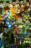 Exotic lights in Istanbul bazaar. Royalty Free Stock Photography
