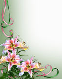 Exotic Lilies Floral Invitation Background Royalty Free Stock Photography