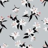 Exotic lilies grey seamless vector print Royalty Free Stock Photos