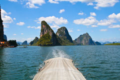 Exotic limestone islands in Phang Nga bay Royalty Free Stock Photos