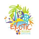 Exotic logo original design, beach holidays colorful hand drawn vector Illustration Royalty Free Stock Photos