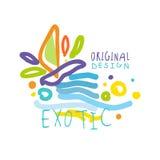 Exotic logo original design, summer travel colorful hand drawn vector Illustration Stock Image