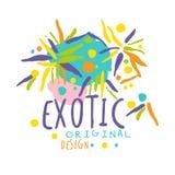 Exotic logo original design, summer travel hand drawn vector Illustration Stock Image