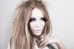 Exotic Looking Fashion Model with Long Eyelashes Royalty Free Stock Image