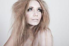 Exotic Looking Fashion Model with Long Eyelashes Royalty Free Stock Photo