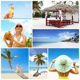 Exotic luxury resort collage. Royalty Free Stock Photo