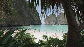 The exotic Maya Bay framed by tropical lush vegetation, Phi Phi Island, Thailand. UHD 4K stock video