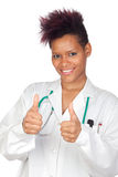 Exotic medical girl saying Ok Stock Photography