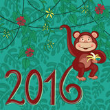 Exotic monkey 2016. Greeting card. Monkey symbol of New year. Vector illustration Royalty Free Stock Photos