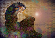 Exotic nice girl. Romantic composition with Painting of exotic nice girl Royalty Free Stock Photos