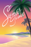 Exotic ocean beach landscape background. Silhouette palm tree pink orange sunset sky sun. Hot summer vacation evening  illus Stock Images
